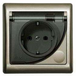 Priza schuko IP-44 satin - Aparataj electric efekt