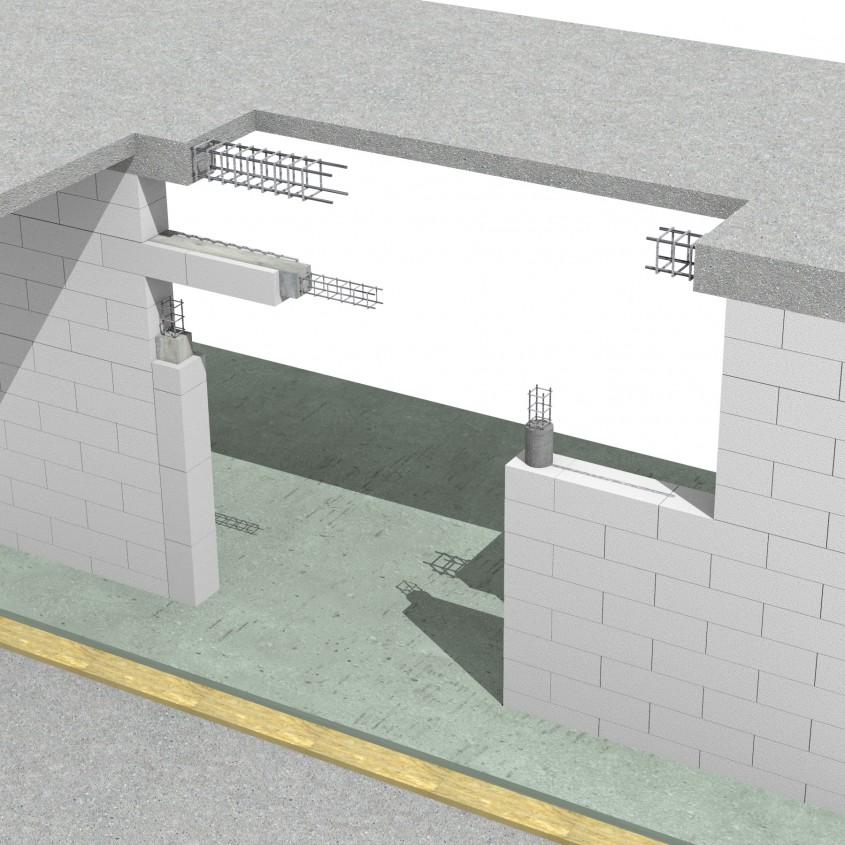 Pereti de compartimentare portanti cu goluri de usa mai mari de 2.215m. - Sistem de zidarie confinata din BCA Macon pentru constructii rezidentiale, publice si industriale