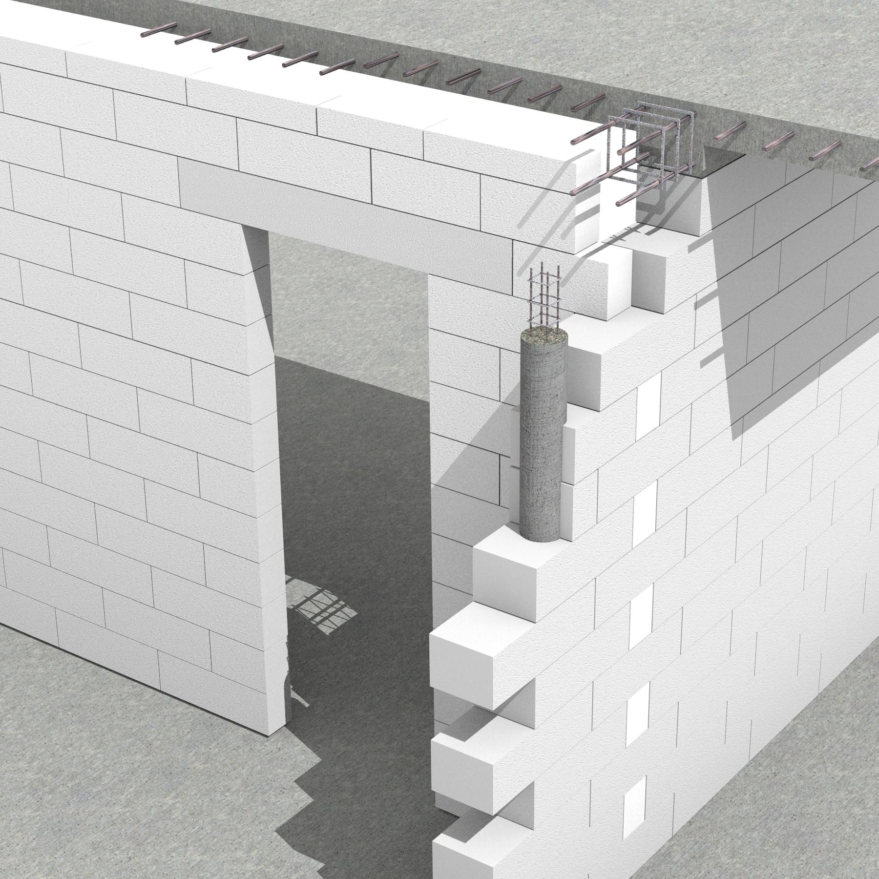 Pereti de compartimentare neportanti cu goluri de usa mai mici de 2.215m. - Sistem de zidarie confinata din BCA Macon pentru constructii rezidentiale, publice si industriale