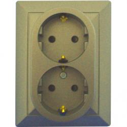 Priza dubla schuko 16A cu protectie pt copii satin - Aparataj electric perla