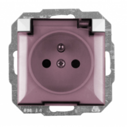 Priza cu capac IP44 schuko sistem francez satin fara rama - Aparataj electric perla