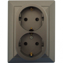 Priza dubla schuko 16A cu protectie pt copii antracit - Aparataj electric perla