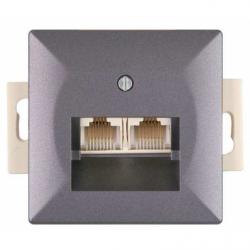 Priza computer dubla antracit fara rama - Aparataj electric perla
