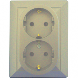 Priza dubla schuko 16A cu protectie pt copii bej - Aparataj electric perla