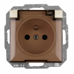 Priza cu capac IP44 schuko sistem francez bej fara rama - Aparataj electric perla