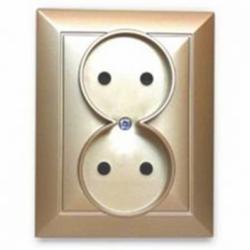 Priza dubla simpla 16A cu protectie pt copii bej - Aparataj electric perla