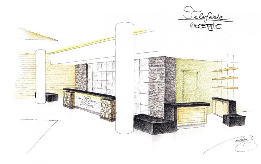 Receptia Hotelului Teleferic - schita - Hotel Teleferic din Poiana Brasov - culoare, lemn, traditie