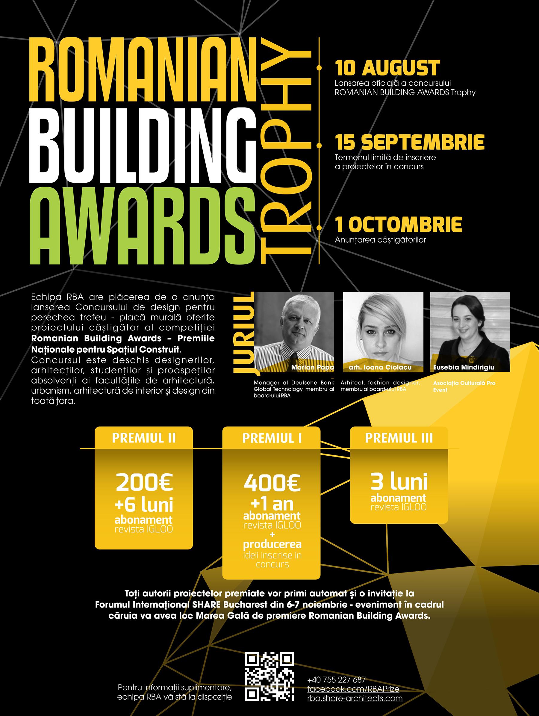 Romanian Building Awards lanseaza Concursul de design Romanian Building Awards Trophy - Romanian Building Awards lansează