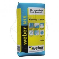 Glet de finisaj pe baza de ciment alb - Weber N15 -20kg - Accesorii piatra naturala