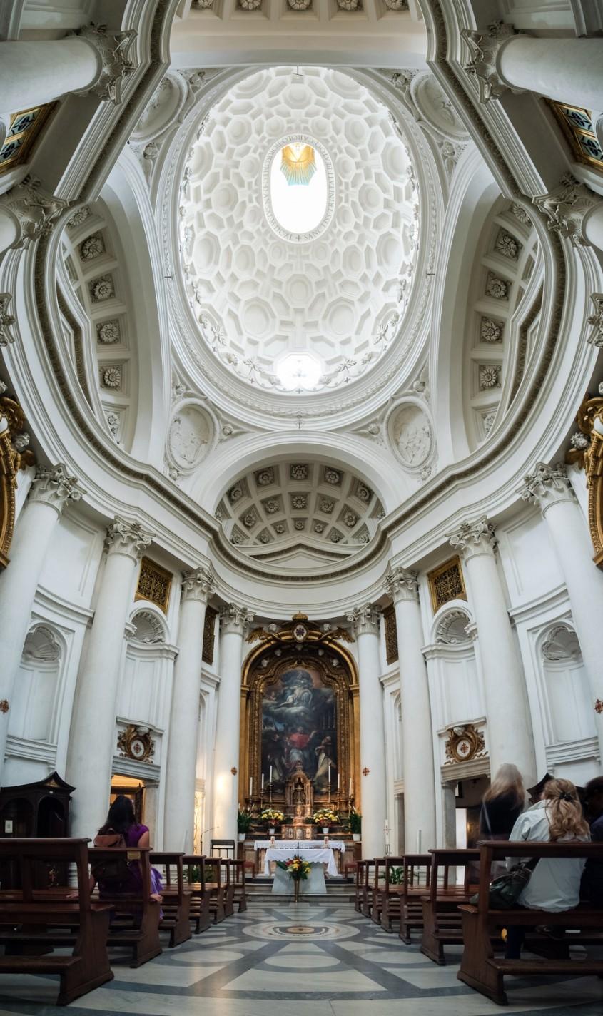 Biserica San Carlo alle Quattro Fontane Roma - interior - Lectia de arhitectura - emblemele stilului