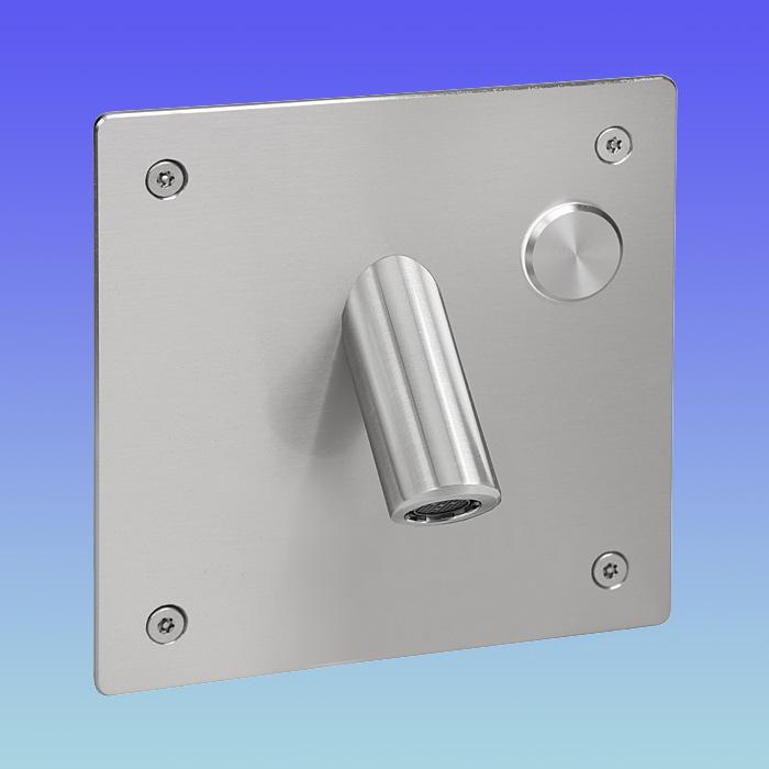 SLU 44P - Baterie de perete din otel inox cu buton piezo si lavoar antivandalism cu