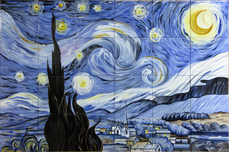 Noapte instelata - Faianta pictata pentru dormitor