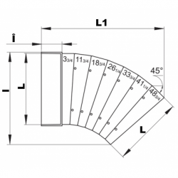 Cot orizontal 45grade 60*204 - Accesorii ventilatie tubulatura pvc si conectori