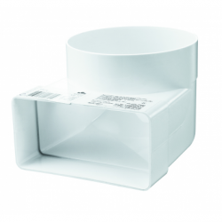 Cot 90 grade conectare tub rotund/rectangular PVC, 110*55mm, diam 100mm - Accesorii ventilatie tubulatura pvc si conectori