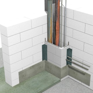 Detaliu de ghena de instalatii  - Sistem de zidarie confinata din BCA Macon pentru constructii rezidentiale, publice si industriale