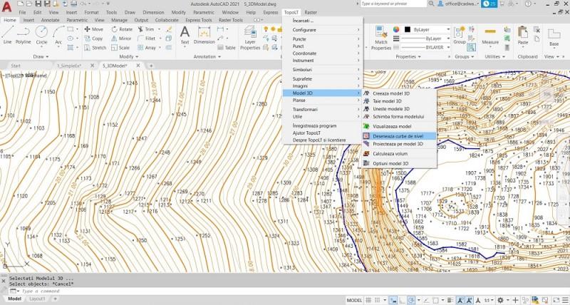 In TopoLT se poate realiza modelul 3D al terenului si al curbelor de nivel la diferite