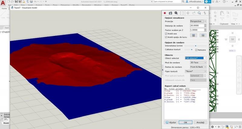 TopoLT permite calcularea volumului ce se formeaza intre un model 3D si un plan de cota