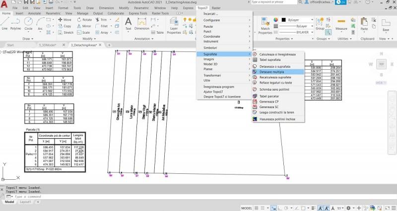 TopoLT permite generarea de parcele noi detasari simple si multiple folosind diferite metode pentru detasare (paralela