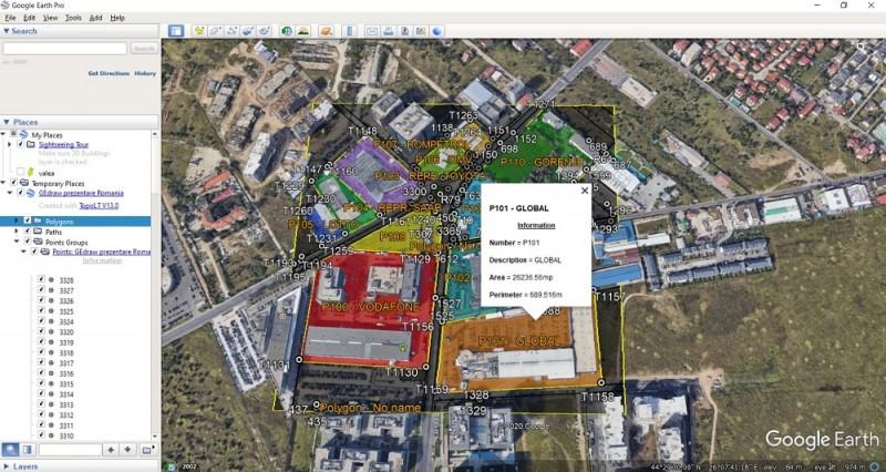 Folosind aceasta comanda se pot desena in Google Earth poligoane (polilinii inchise) trasee (polilinii deschise) si