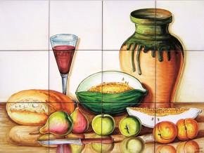 Decor cu fructe, paine si vin - Faianta pentru bucatarie