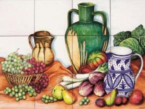 Decor plita cu fructe, legume si vase de lut - Faianta pentru bucatarie