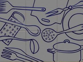 Decor plita kitchenware gri-albastru - Faianta pentru bucatarie