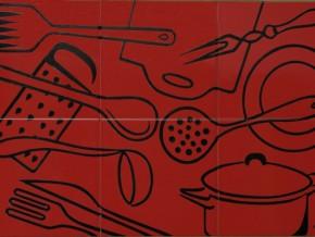 Decor plita kitchenware rosu - Faianta pentru bucatarie