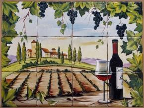 Decor plita rustic cu vita-de-vie si sticla de vin - Faianta pentru bucatarie