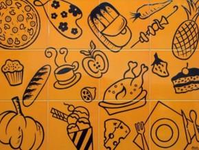 Decor plita cooking portocaliu orizontal - Faianta pentru bucatarie