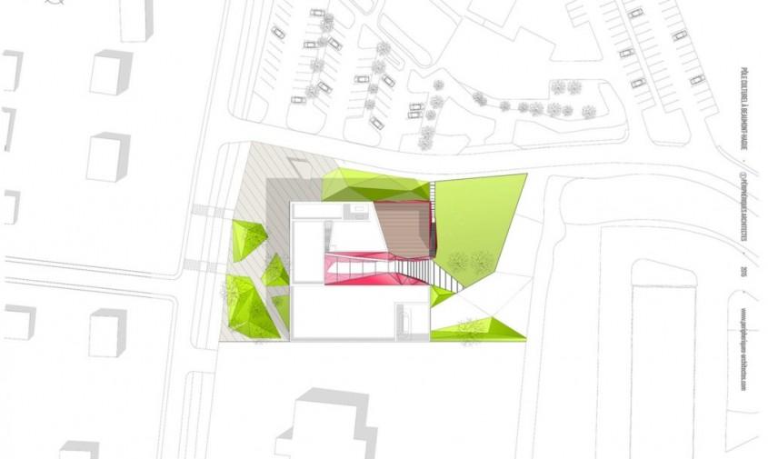 """Centrul Cultural """"La Hague"""" - planuri - Centrul Cultural """"La Hague"""" exterior din oglinzi si interioare"""