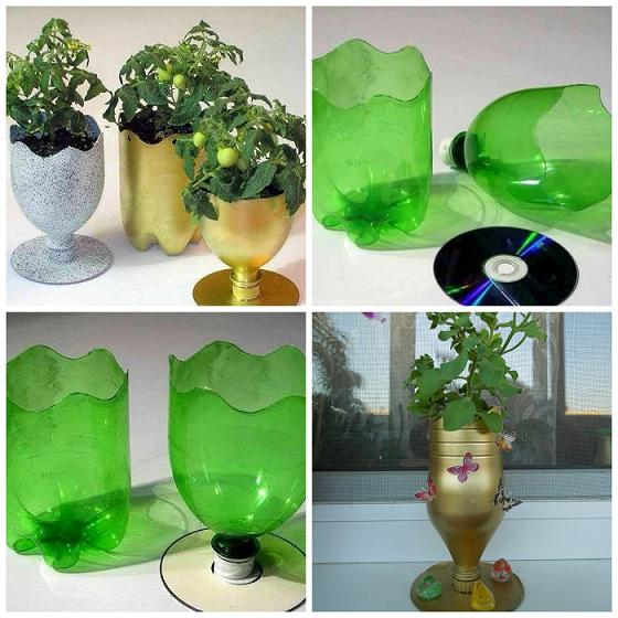 Easy craft ideas for recycling plastic bottles in the home for Flower pot making with waste material