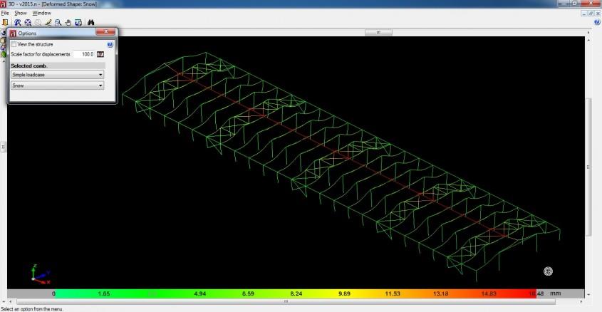 Hala industriala din cadre mixte stalpi metalici si grinzi din lemn incleiat analizata in programele de