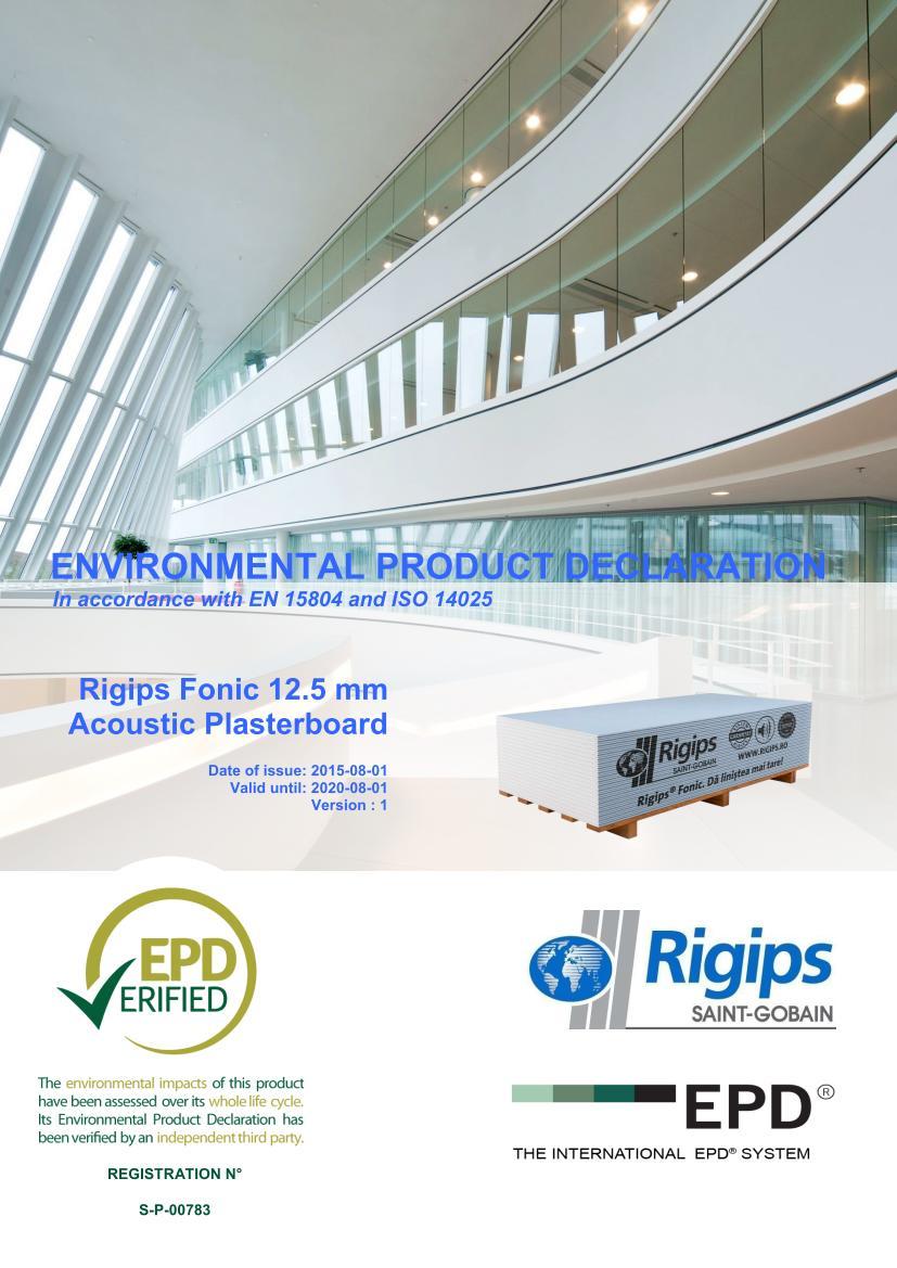 Fonic 12 - Saint-Gobain Rigips a lansat declaratii de mediu pentru placile din gips-carton Rigips® produse