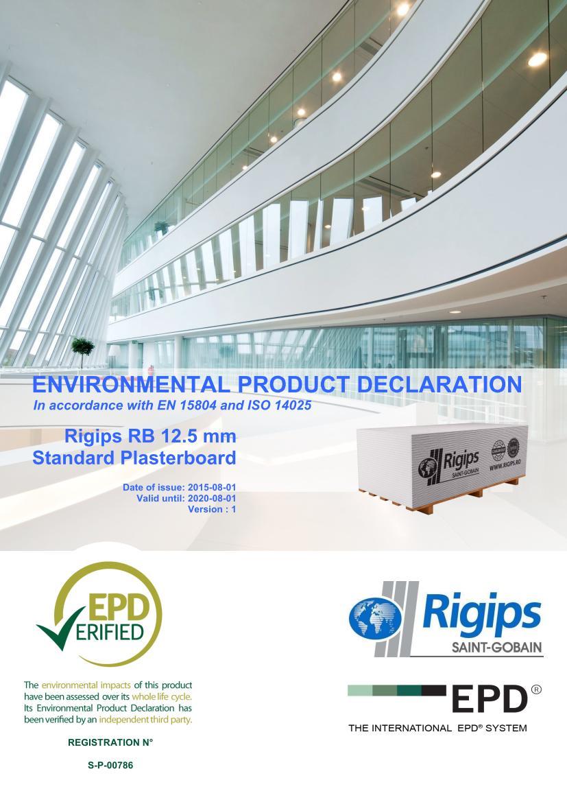 RB 12 - Saint-Gobain Rigips a lansat declaratii de mediu pentru placile din gips-carton Rigips® produse