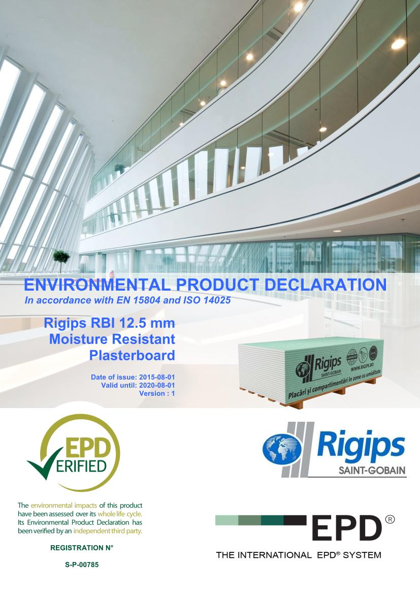 RBI 12 - Saint-Gobain Rigips a lansat declaratii de mediu pentru placile din gips-carton Rigips® produse