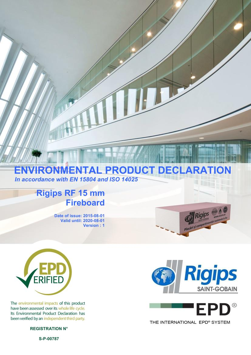 RF 15 - Saint-Gobain Rigips a lansat declaratii de mediu pentru placile din gips-carton Rigips® produse