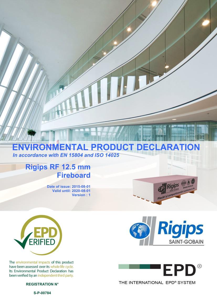 RF 12 - Saint-Gobain Rigips a lansat declaratii de mediu pentru placile din gips-carton Rigips® produse