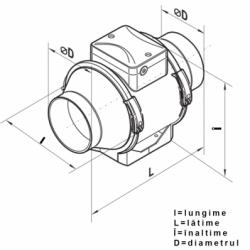 Ventilator axial de tubulatura diam 100mm, cu 2 viteze, 145/187mc/h, cu timer - Ventilatie industriala ventilatoare in linie