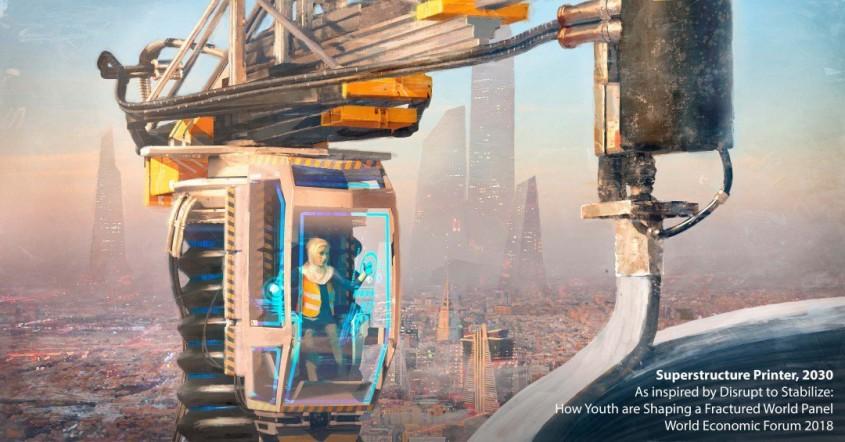 Imprimator de suprastructuri - Privind către viitor ilustrații care ne arată cum pot fi arhitectura și
