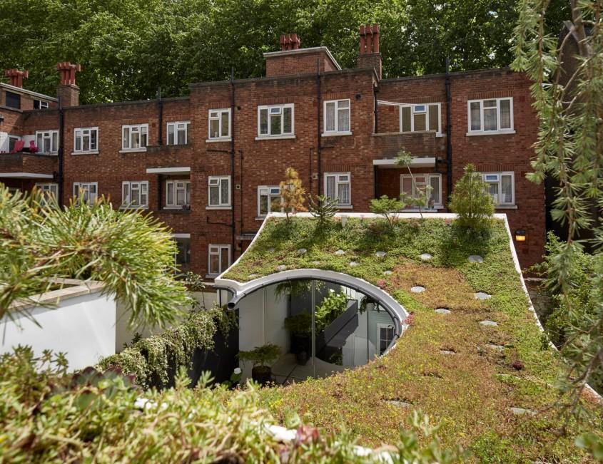 Casă cu acoperiș cu verdeață și piscină care filtrează apa de ploaie - Casă cu acoperiș