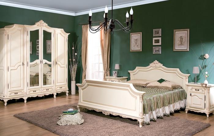 Dormitor Royal Alb-Auriu - Mobila de dormitor din lemn masiv: standard sau la comanda?
