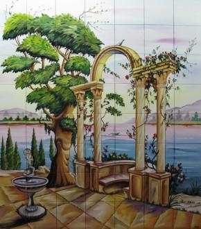 Gradina cu fantana arteziana si coloane pe malul lacului - Faianta pictata pentru dormitor
