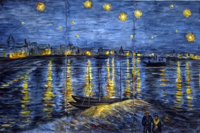 Noapte instelata peste Ron - Faianta pictata pentru dormitor