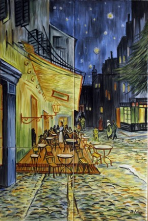 Terasa cafenelei, noaptea - Faianta pictata pentru dormitor