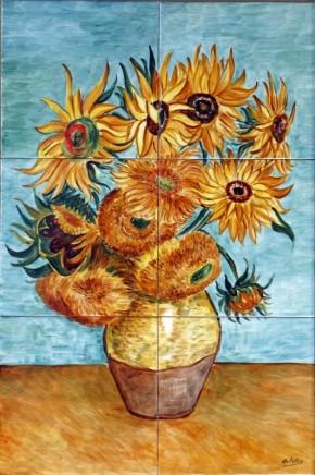 Vaza cu floarea-soarelui - Faianta pictata pentru dormitor
