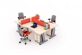 Ansamblu 3 birouri curbe cu panouri despartitoare-SYSBRC16 P160 si P80 - Solutii complete executive - program SYSTEM