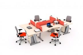 Ansamblu 4 birouri curbe cu panouri despartitoare-SYSBRC16 P160 si P80_2 - Solutii complete executive - program SYSTEM