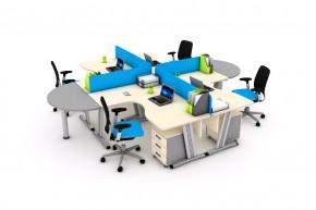 Ansamblu 4 birouri L cu 2 extensii si 4 panouri despartitoare-SYSBRL16 SYSMSR12 P120 - Solutii complete executive - program SYSTEM