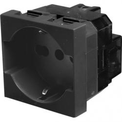 Priza schuko 2P+T, 16A, negru - Aparataj electric esperia