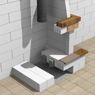 Sectiune prin semineu cu focar - Sistem de zidarie confinata din BCA Macon pentru constructii rezidentiale, publice si industriale